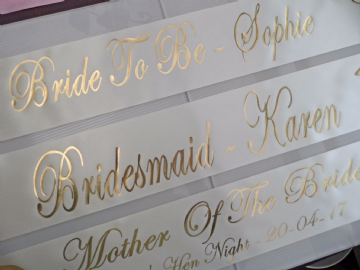 Ivory & Gold Hen Night Sashes